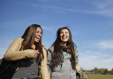 two female transfer students laughing admissions thumbnail